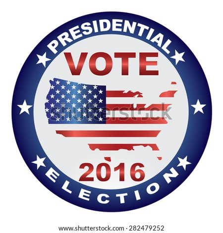 Vote Presidential Election 2016 with USA Flag in Map Silhouette Button Vector Illustration