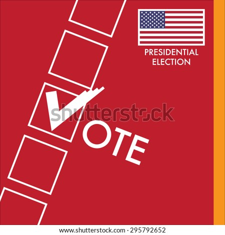 Vote Sign With Checkbox on Red Background. USA Presidential Election Vector Design.