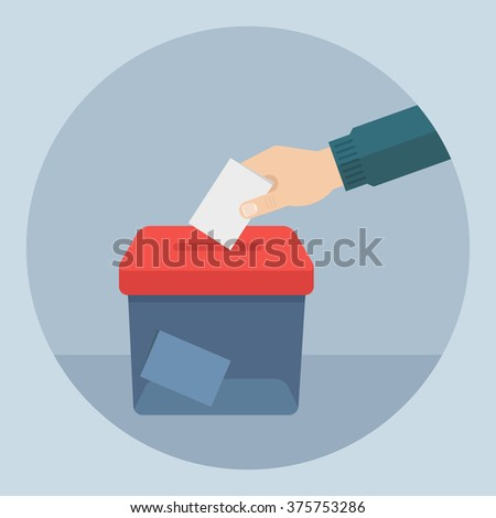 Vote vector illustration. Ballot and politics. Hand puts voting ballot in ballot box. Voting and election concept. Make a choice image.  - stock vector