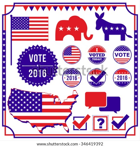 Voting and Election Element Set - Set of voting and election elements and icons. Colors are global.  All elements are separate, and file is layered for easy editing.    - stock vector