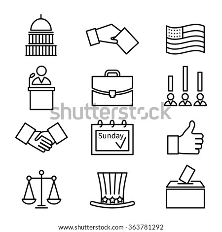 Voting and elections linear icons. Government political, ballot politics, candidate speech, vector illustration - stock vector