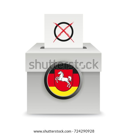 Voting box with voting paper and lower saxony flag on the white background. Eps 10 vector file.