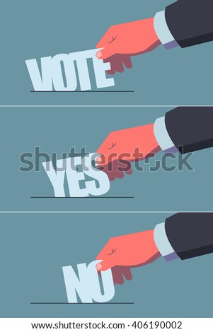 Voting concept illustrations set. Male hand putting stylized ballots in the ballot-box. Vintage style illustration. Layered file, clipping masks used.  - stock vector