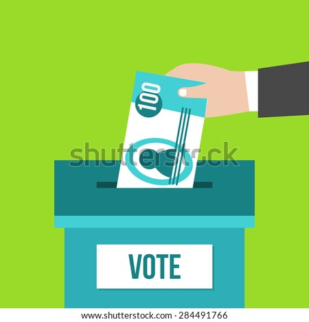 Voting concept in flat design. Hand putting paper money in the ballot box. â??orruption - stock vector
