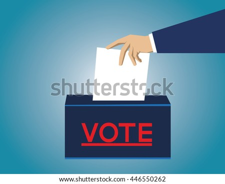 Voting concept in flat style. hand putting paper in the ballot box - stock vector