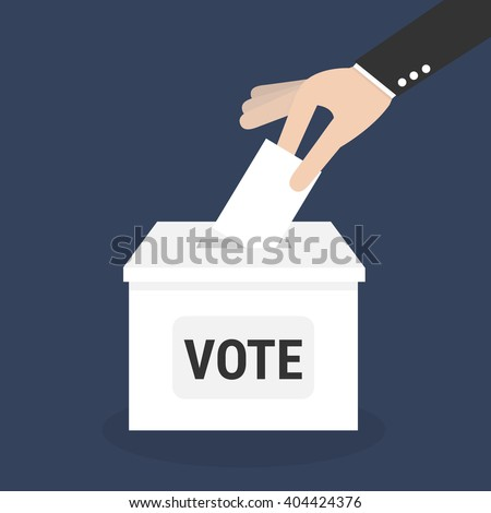 Voting concept, Vote ballot with box, Vector illustration, flat design. - stock vector
