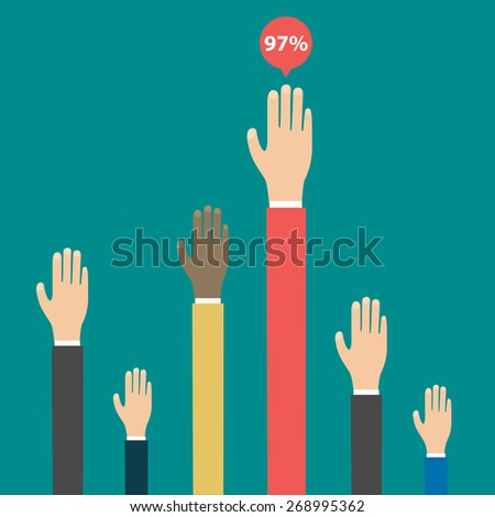 Voting elections results. Hands raised up. Infographics elements. Vector - stock vector