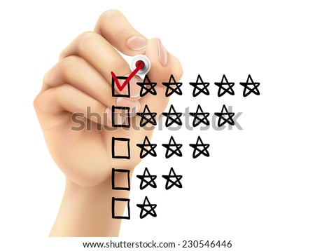 voting five stars by hand on a transparent board - stock vector