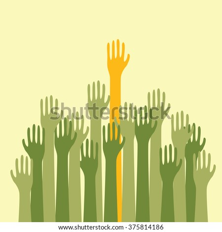 Voting Hands Raised Up High Silhouette - stock vector