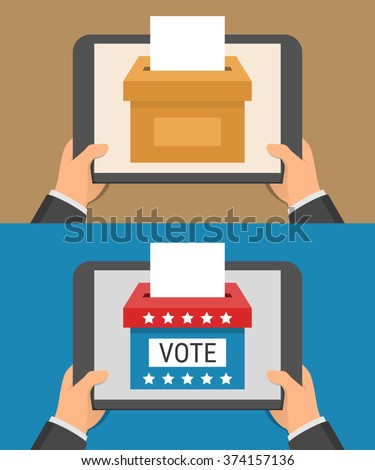 Voting online concept. Hand holding tablet pc and ballot-box on the screen in flat style - stock vector