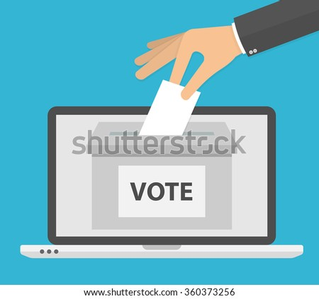 Voting online concept. Hand putting or inserting voting paper in the ballot box on a laptop screen. Flat design - stock vector