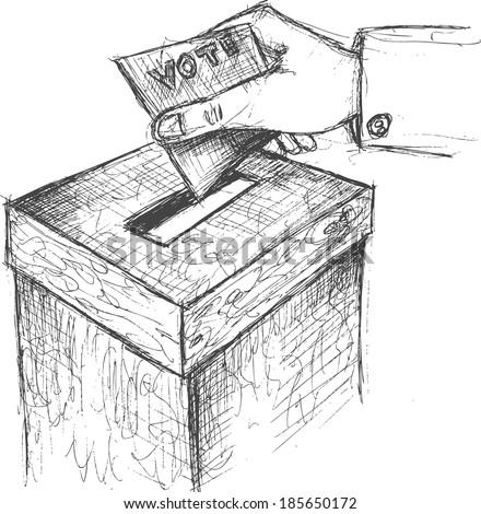 voting, sketch  - stock vector