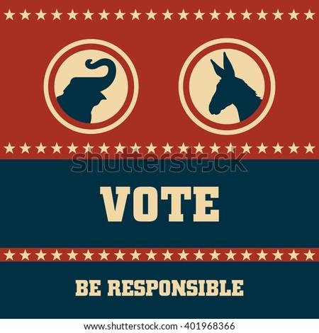 Voting Symbols concept vector design presidential election - stock vector