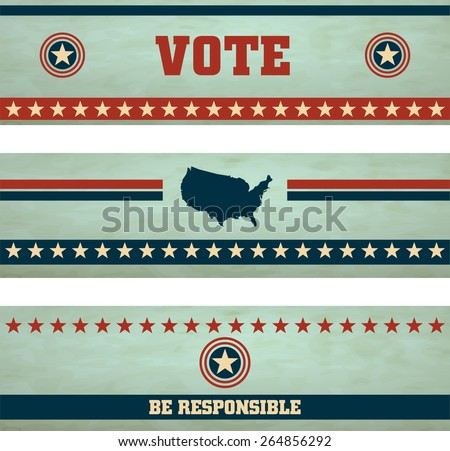 Voting Symbols vector set banners - stock vector