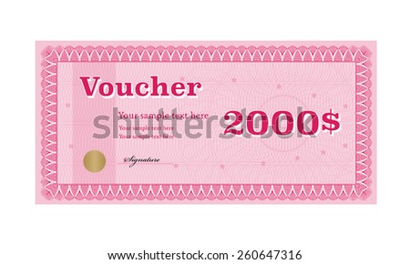 Voucher, Coupon template, Gift certificate - stock vector
