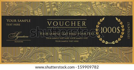 Voucher, Gift certificate, Coupon template. Floral, scroll pattern, birder ,frame. Background design for invitation, ticket, banknote, money design, currency, check. Black, gold vector - stock vector
