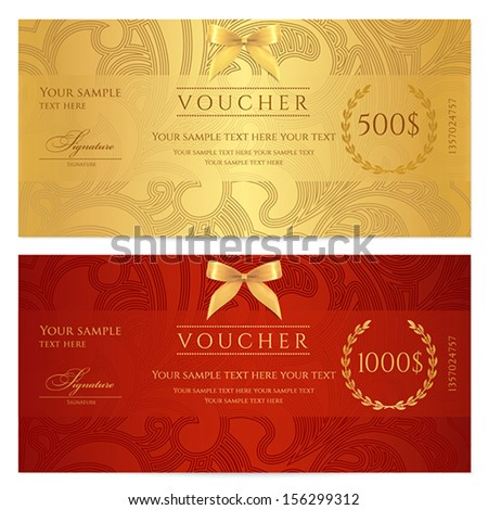Voucher, Gift certificate, Coupon template. Floral, scroll pattern (bow, frame). Background design for invitation, ticket, banknote, money design, currency, check (cheque). Red, gold vector  - stock vector