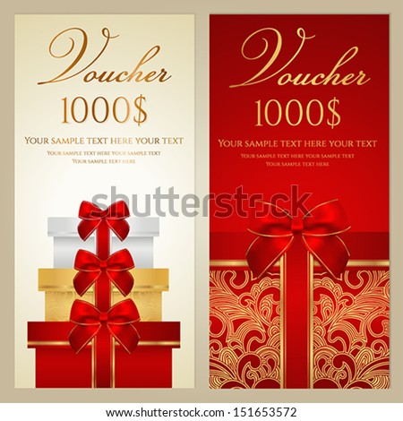 Voucher, Gift certificate, Coupon template with border, bow (ribbons, present). Holiday (celebration) background design (Christmas, Birthday) for invitation, banner, ticket. Vector in red, gold colors - stock vector