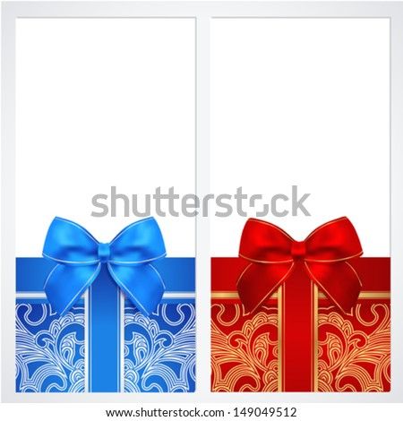 Voucher, Gift certificate, Coupon template with bow (ribbons, present). Background design for invitation, banknote, money design, currency, check (cheque). Vector in red, blue colors - stock vector