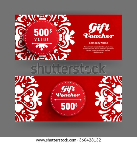 Voucher, Gift certificate, Coupon template with curvy element and circle label. Concept for boutique, fashion, beauty salon, flyer, banner design. - stock vector