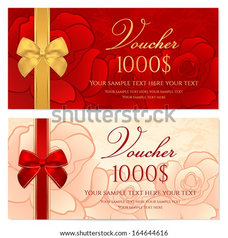 Voucher, Gift certificate, Coupon template with floral rose pattern, red and gold bow. Background for invitation, money design, currency, note, check (cheque), ticket, reward. Vector - stock vector