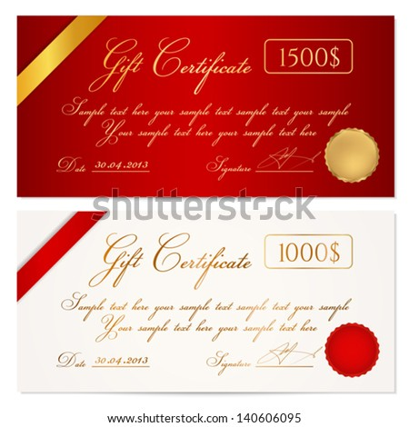 Voucher Gift Certificate Coupon Template Ribbon Stock Vector