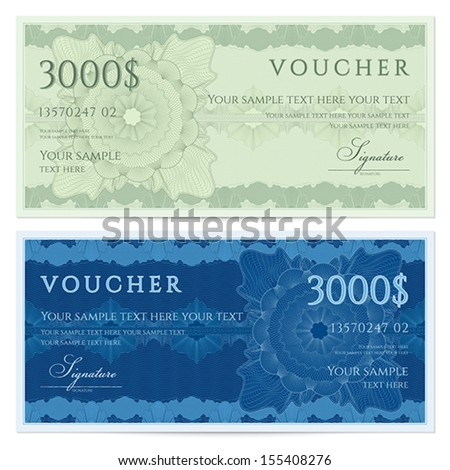 Voucher, Gift certificate, Coupon, ticket template. Guilloche pattern (watermark, spirograph). Background for banknote, money design, currency, bank note, check (cheque), ticket. Green, blue vector - stock vector