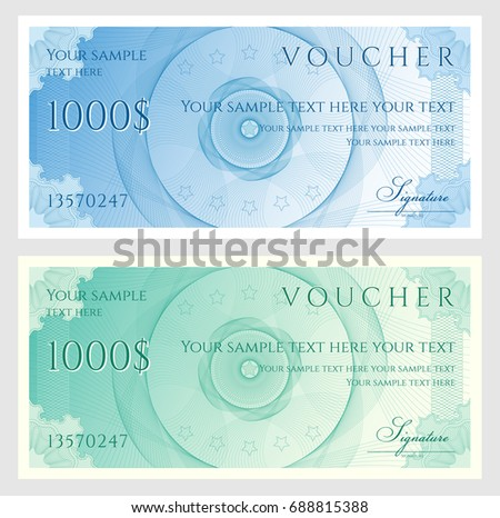 Voucher gift certificate coupon ticket template voucher gift certificate coupon ticket template guilloche pattern watermark spirograph yelopaper Choice Image