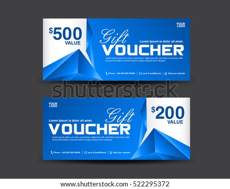 Voucher template coupon design blue gift stock vector 522295372 voucher template coupon design blue gift certificate ticket template polygon background yadclub Image collections