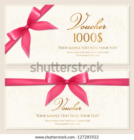 Voucher template with floral pattern, border and red bow (ribbons). Design usable for gift coupon, voucher, invitation, certificate, diploma, ticket etc. Corrugated background. Vector - stock vector
