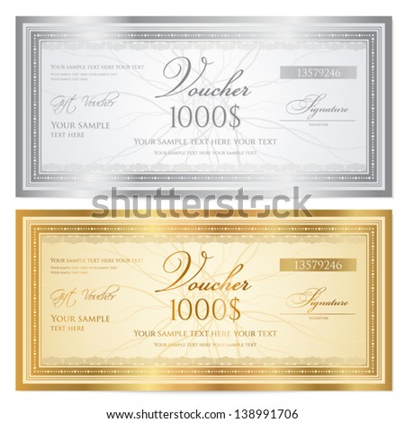 Voucher template with guilloche pattern (watermarks) and border. Background for gift certificate, coupon, banknote, money design, currency, note, check etc.  Vector in gold and silver colors - stock vector