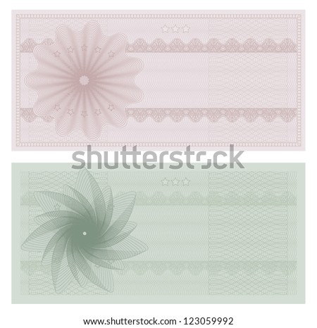 Voucher template with guilloche pattern (watermarks). This design usable for gift voucher, coupon, diploma, certificate or different awards. Vector illustration - stock vector