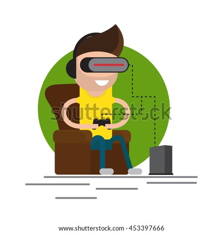 VR gaming. Man sitting in an armchair and playing using vr headset. Vector flat illustration. - stock vector