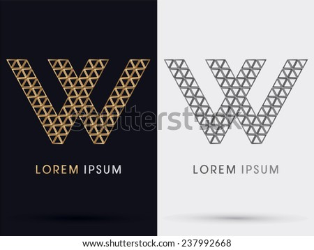 W Alphabet Font Gold Triangle Logo Stock Vector 237992668 Shutterstock