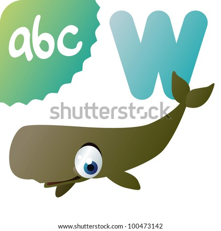 W is for Sperm Whale - stock vector