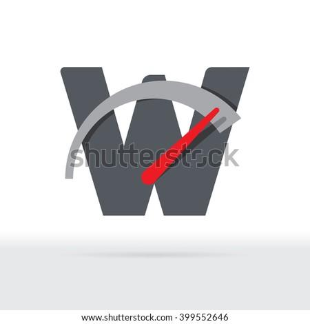 W Letter Car Speedometer, B Letter Meter Logo - stock vector