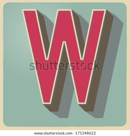 W letter of 3d vector illustrated relief retro font with shadow - stock vector