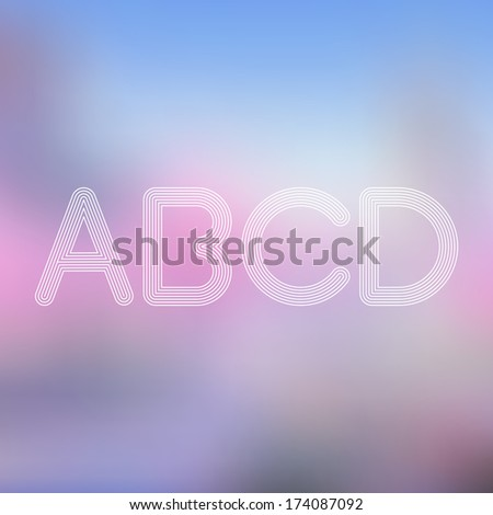 W X Y Z Light Lines Alphabet with Blurred Out of Focus  Background - Vector Illustration - stock vector