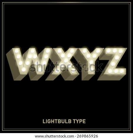 w,x,y,z lightbulb typeface/font vector/illustration - stock vector