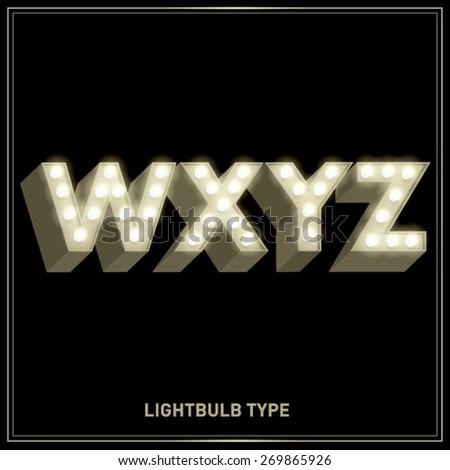 w,x,y,z lightbulb typeface/font vector/illustration - stock vector