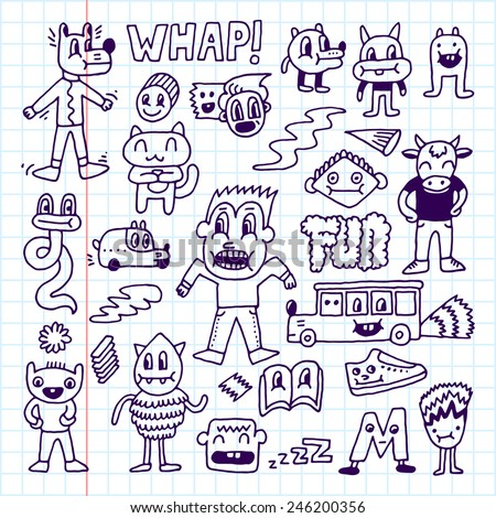Wacky crazy doodles set 3. Vector illustration. Hand drawn. School notebook.
