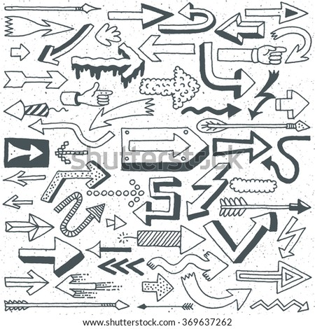 Wacky Doodle Arrows Collection. Vector Hand Drawn Illustration.