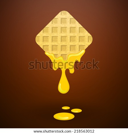 Waffles with honey - stock vector