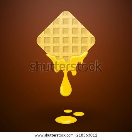 Waffles with honey - stock vector