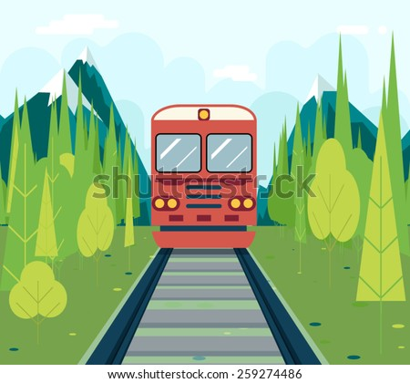 Wagons In Forest Tourism and Journey Symbol Railroad Train Travel Concept on Stylish Mountain Sky Background Flat Design Vector Illustration - stock vector