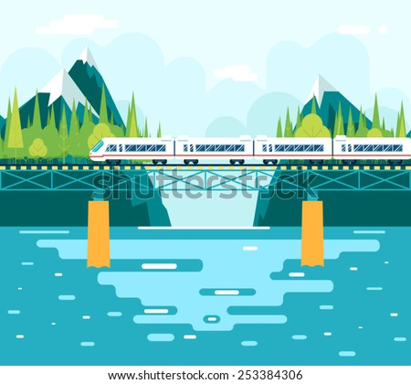 Wagons on Bridge over River Tourism and Journey Symbol Railroad Train Travel Concept Stylish Mountain Sky Background Flat Design Vector Illustration - stock vector
