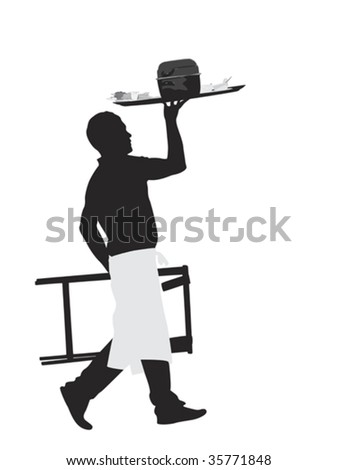 waiter carrying platter with mussel dish