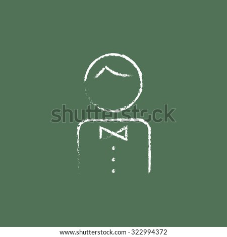 Waiter hand drawn in chalk on a blackboard vector white icon isolated on a green background. - stock vector