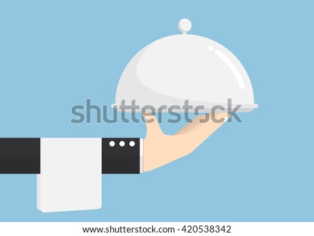 Waiter hand holding silver tray, service, delivery Concept - stock vector