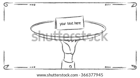 Waiter holding special invitation on silver stock vector 366377945 waiter holding a special invitation on a silver platter stopboris Images
